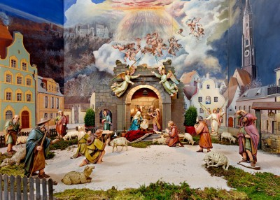 Christi Geburt - Szene der Weihnachtskrippe in St. Jodok. (c) Kunstverlag Peda